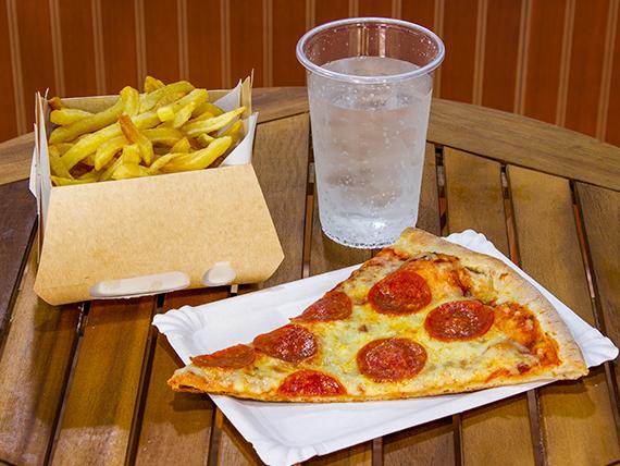 Promo 3 - Porción de pizza a elección + bebida a elección 350 ml + papas fritas 400 g