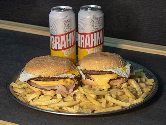 Promo - 2 hamburguesas dobles + papas fritas + 2 cervezas Brahma 473 ml