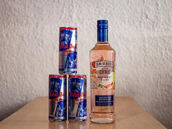 Promoción - Vodka Smirnoff saborizado 750 ml + 3 energizantes Red Bull 250 ml