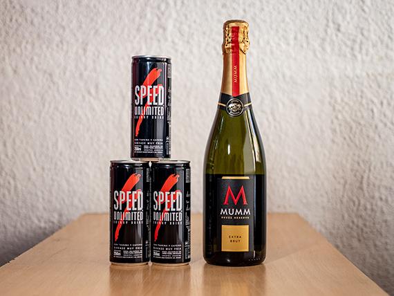 Promoción - Champagne Mumm Extra Brut 750 ml + 3 energizantes Speed 250 ml