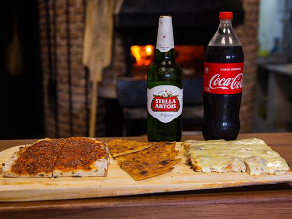 Promo - Pizza muzzarella + pizza + fainá + refresco línea Coca Cola 1.5 L o cerveza 1 L