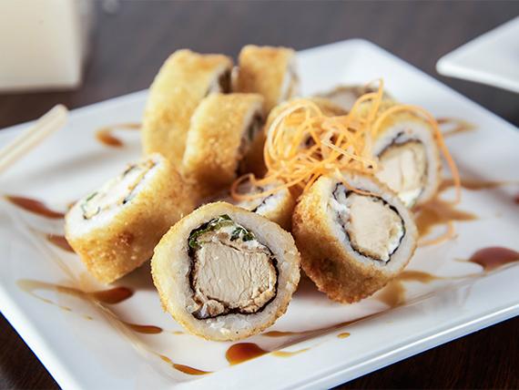 Hot roll de pollo apanado, queso y cebollín (10 piezas)