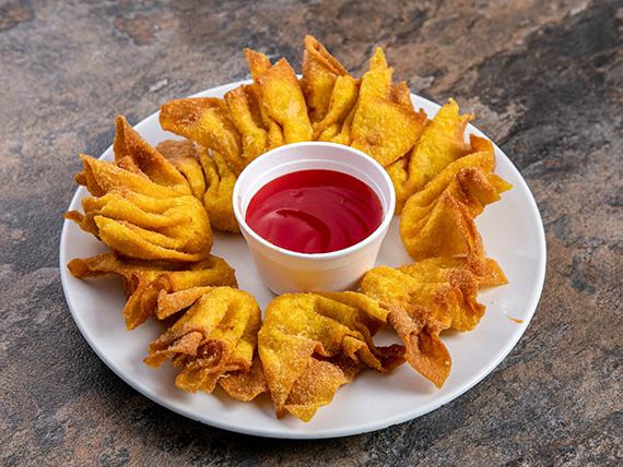 Wanton frito con camarones
