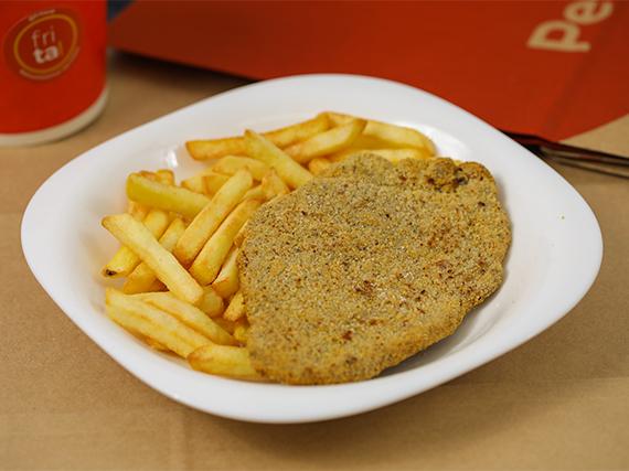 Milanesa de carne vacuna + papas fritas