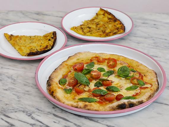 Combo para 2 - Pizza + 2 faina con parmesano y tomillo