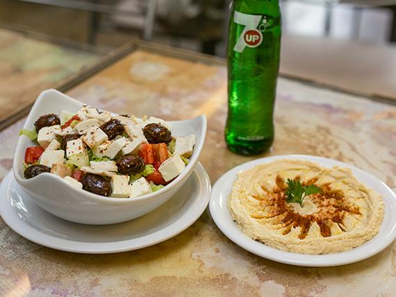 Combo 2 - Hummus + ensalada fetuch + bebida