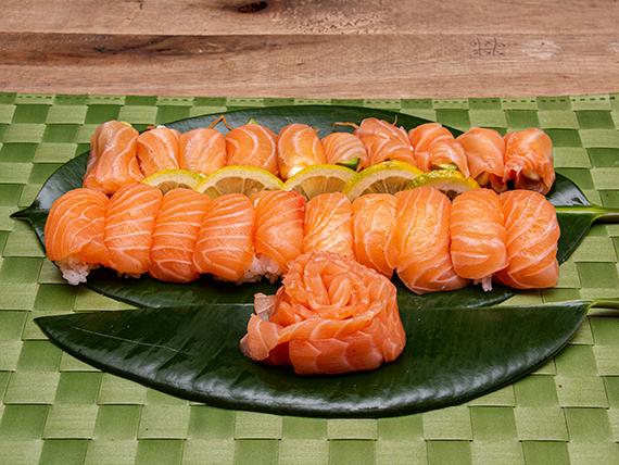 Promo 5 - 10 geishas de salmón + 10 sashimis de salmón + 10 niguiris de salmón