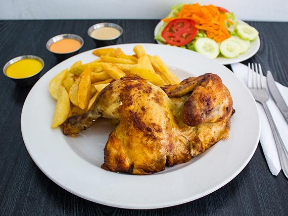 Promo - 1/2 pollo + papas fritas + ensalada + crema