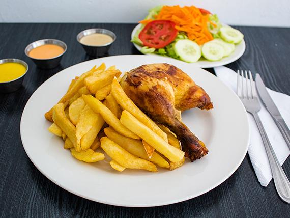Promo - 1/4 pollo + papas fritas + ensalada + crema