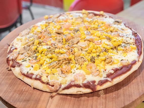 Pizza con camarón vegetariano familiar