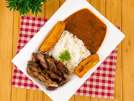 Comida con puerco - Puerco con arroz + miniestra + tajadas de plátano