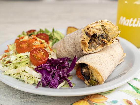 Wrap clásico + papas rústicas + ensalada