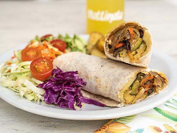 Wrap deleitte + papas rústicas + ensalada