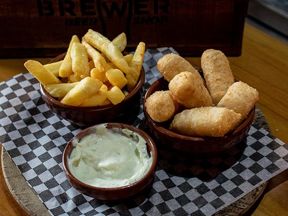 Tequeños con  con papas fritas y  salsa de ajo (media porción 6 unidades)