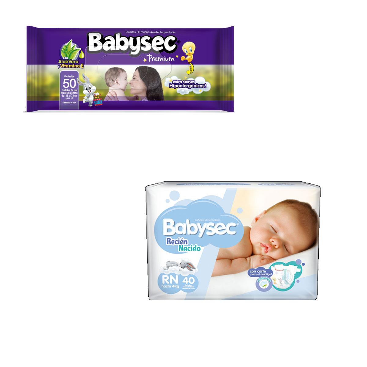 f715f74c674 Pañales Babysec Recién Nacido 40 Uds + Pack de Toallitas