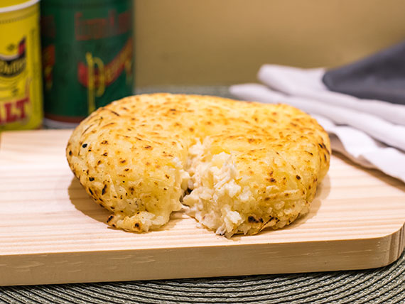 214 - Batata ou mandioca suíça frango desfiado com requeijão