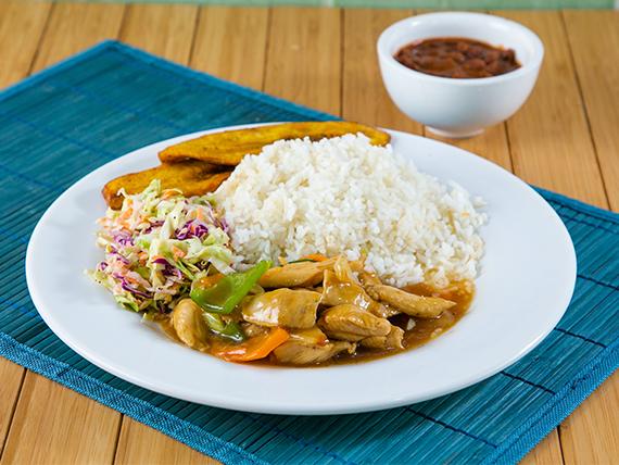 Promoción - Pollo vegetariano + Menestra del día + Soda en lata 355 ml