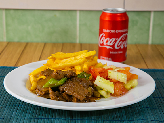 Promoción - Bistec picado + Soda en lata 355 ml