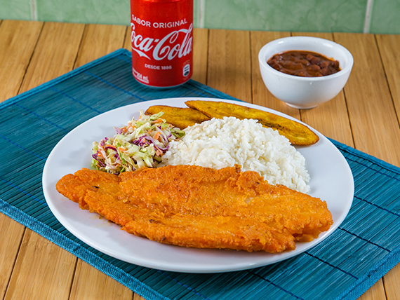 Promoción - Filete de pescado + Menestra del día + Soda en lata 355 ml