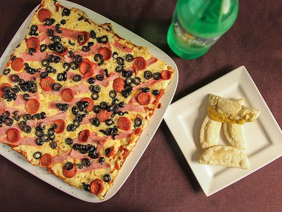 Promo 9 - 1 pizza familiar + bebida 1.5 L + 4 empanadas de queso
