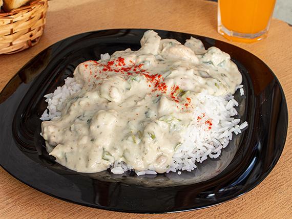 Pollo al verdeo con arroz