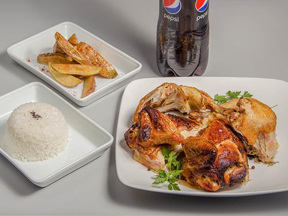 Pollo a las brasas entero + 2 agregados + Bebida 1.5 L