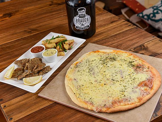 Combo - Milanesa con papas rústicas + pizza + growler de cerveza artesanal Brauer 2 L