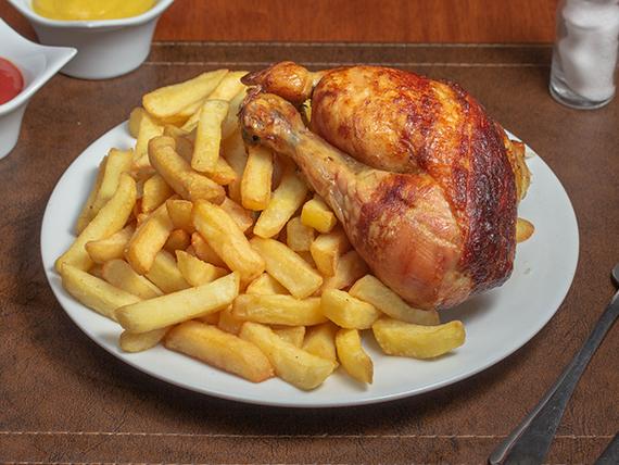 1/4 tuto de pollo + papas fritas (pequeña)