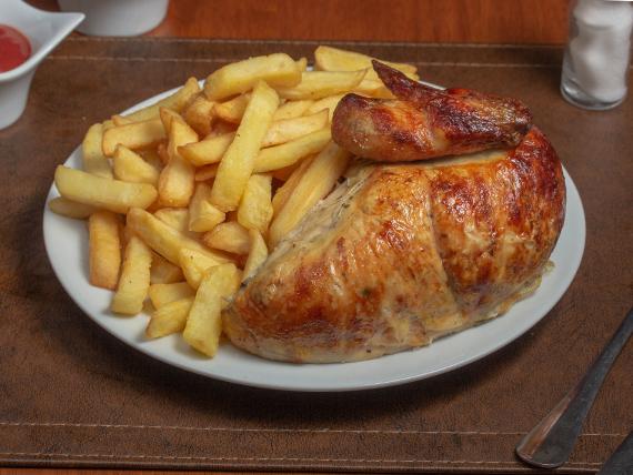 1/4 pechuga de pollo + papas fritas (pequeña)