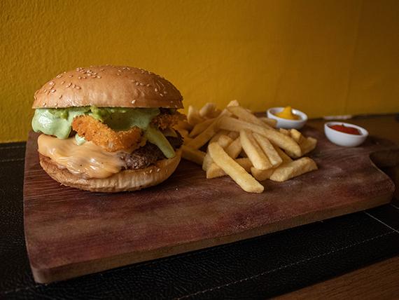 Secreto del cheff burger con papas fritas