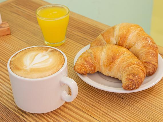 Desayuno y merienda - Café con leche o té + 2 medialunas