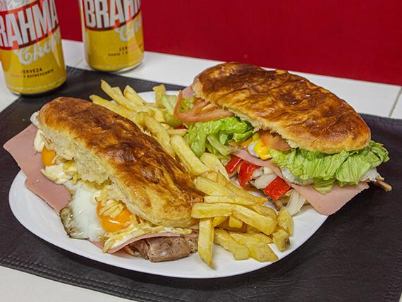 Promo - 2 Sándwiches de bondiola a elección + papas fritas + 2 latas de cerveza Brahma