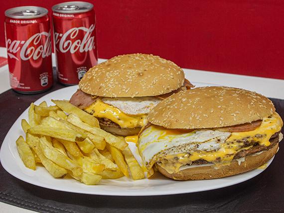 Promo - 2 hamburguesas dobles + papas fritas + 2 latitas de Coca Cola mini