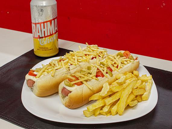 Promo - 2 hot dog a eleccion + papas fritas + lata de cerveza Brahma