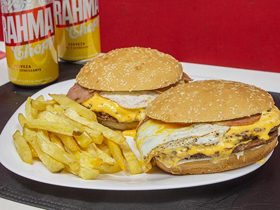 Promo - 2 hamburguesas dobles + papas fritas + 2 latas de cerveza Brahma