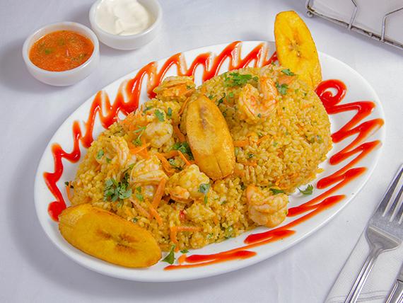 Arroz con camarones ecuatorianos