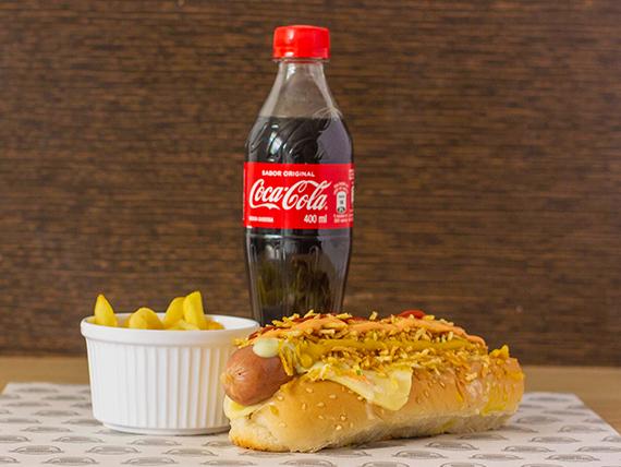 Perro Suiza + Papa Francesa + Coca Cola 400 ml
