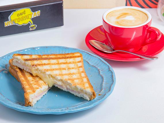 Promo desayuno - Sándwich de jamón y palta o queso caliente + té o capuccino o café americano