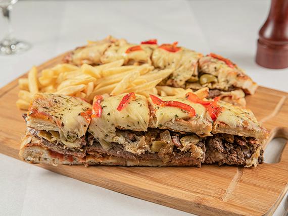 Promoción - Chivipizza completo (dos personas) + Papas fritas + Coca Cola 1 L