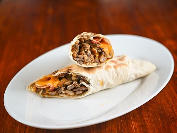 Shawarma americano en pan lavash