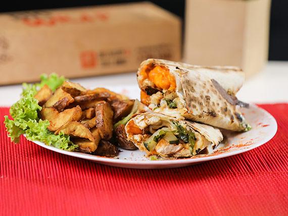 Wrap mexicano con papas rústicas