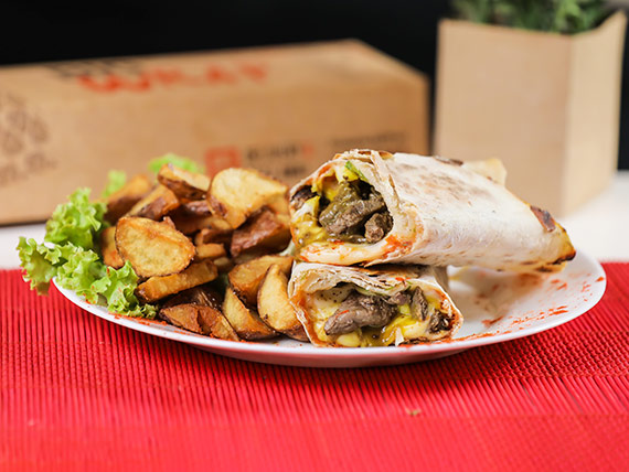 Wrap The Ranchero con papas rústicas