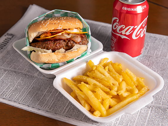 Combo - Hamburguesa big daddy (8 oz) + papas fritas + soda
