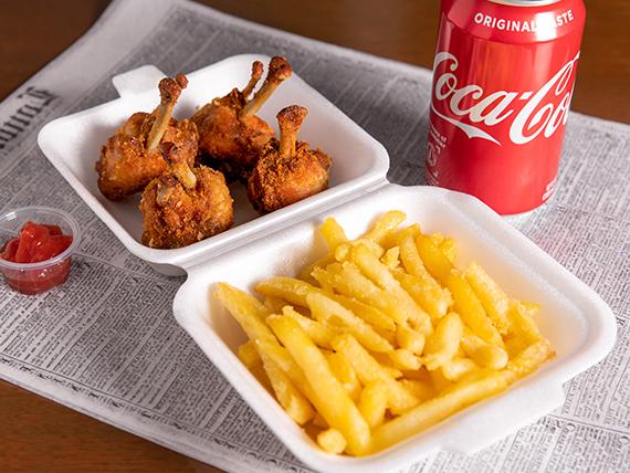 Combo - Chupetitas de pollo + papas fritas + soda