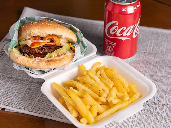 Combo - Hamburguesa little daddy 1/4 libra + papas fritas + soda