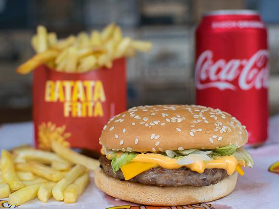 Combo Trio 4 - Picanha burguer + batata frita + refrigerante lata