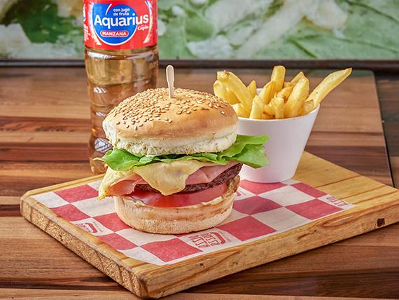 Promoción - Hamburguesa especial + Agua saborizada Aquarius