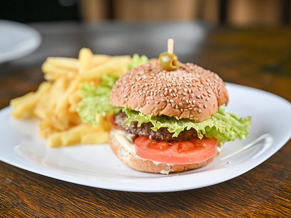Hamburguesa simple + papas fritas