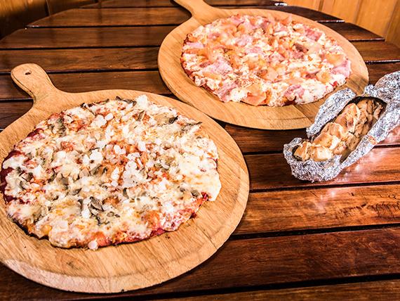 Promo 3 - 2 pizzas medianas + porción de pan de ajo premium