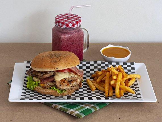 Moto Burger de Pollo en Combo